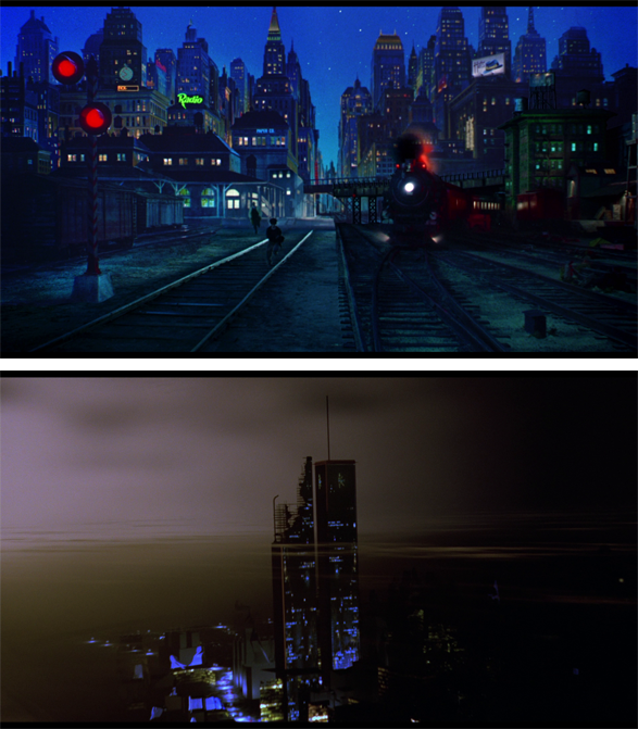 Comparison of the background techniques used in Dick Tracy (top) against Super Mario Bros. (bottom)