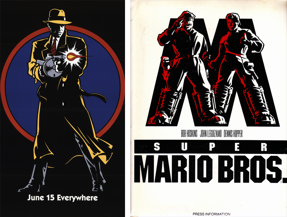 Promotional artwork for both Dick Tracy and Super Mario Bros. used striking, minimalist graphic design elements